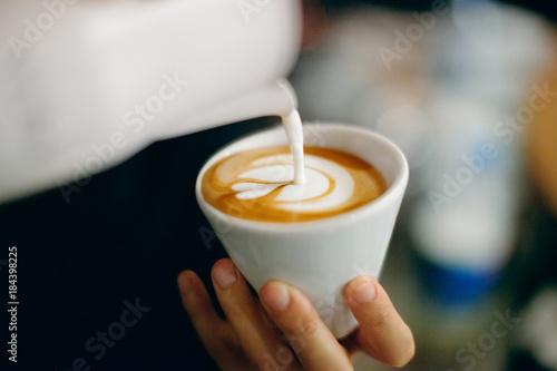 Carta da parati Cappuccino con latte art, schiuma a fiore