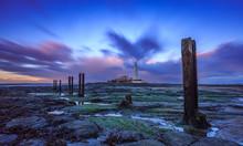 Long Exposure Of Twilight Sky Surrounding St.Mary's Lighthouse, Northumberland, England