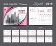 Set Desk Calendar 2018 template design, Pink cover, Set of 12 Months, Week start Sunday