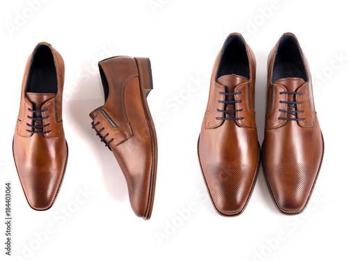 Fototapeta Male brown leather elegant shoe on white background, isolated product, footwear. obraz na płótnie