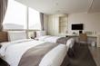 hotel room interior with tv in seoul, korea
