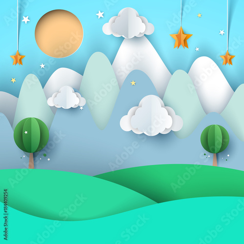In de dag Groene koraal cartoon paper landscape. Mountain, cloud, star, tree, sun.