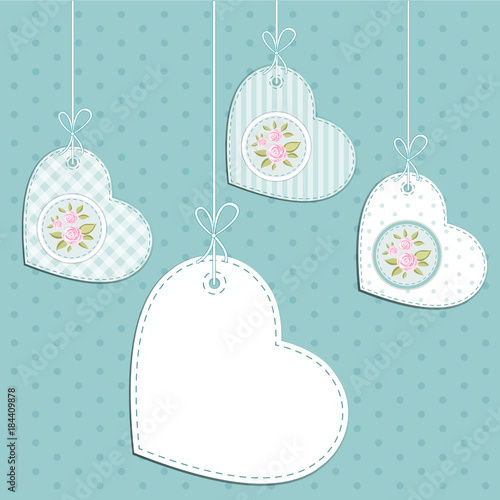 Fotografie, Obraz  Vintage hearts with roses in shabby chic style with strings