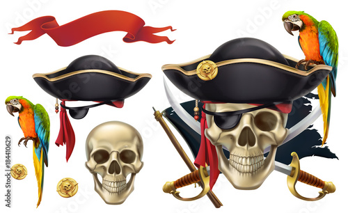 Vászonkép  Skull and parrot. Pirate emblem. 3d vector icon set