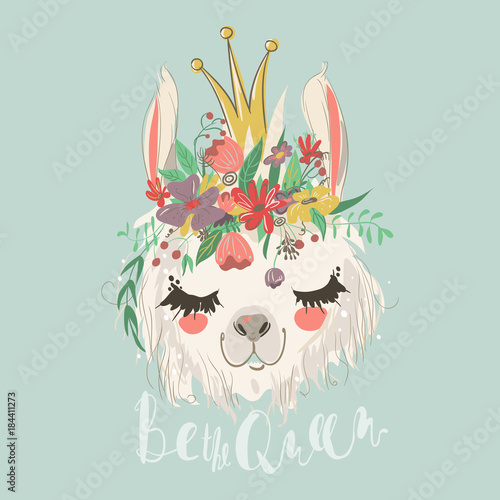 Cute hand drawn llama with flowers wreath and beautiful crown Canvas Print