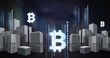 Bitcoin icon and binary code lines above city