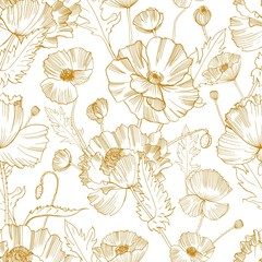 Fototapeta Do sypialni Botanical seamless pattern with gorgeous blooming wild poppy flowers hand drawn with yellow contour lines on white background. Natural vector illustration for textile print, wallpaper, wrapping paper.