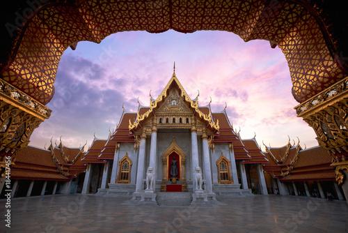 Garden Poster Temple The Marble Temple, Wat Benchamabopitr Dusitvanaram Bangkok Thailand