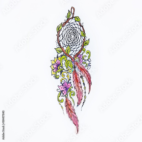 Sketch beautiful dreamcatcher on white background  - Buy