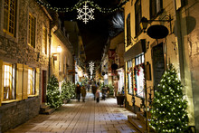 Petit-Champlain At Lower Old Town Basse-Ville At Night On Christmas Event