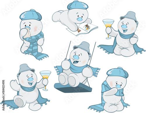 Papiers peints Chambre bébé Cartoon Illustration of a Funny Christmas Snowman for you Design
