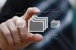 canvas print picture - Businessman presses button file
