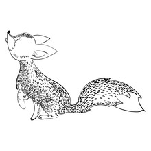 Cartoon Fox Hunts. A Stylized Fox Is Played. Vector Illustration For Children. Black And White Drawing By Hand. Wild Animal.