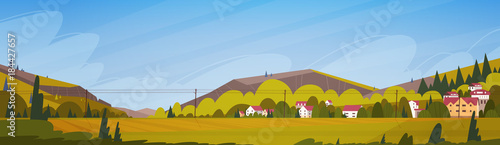 Tuinposter Blauwe hemel Nature Mountains Summer Landscape With Small Village Horizontal Banner Flat Vector Illustration