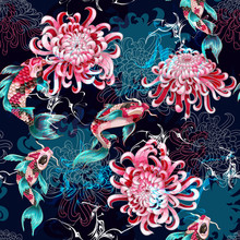 Print For Textile Design With Fish And Flowers