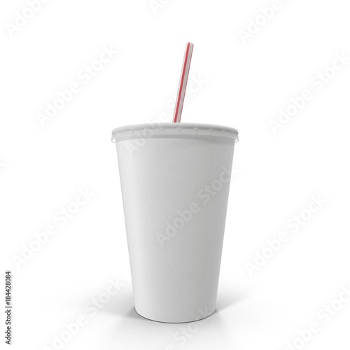 Photo soft drink paper cup with straw on white. 3D illustration