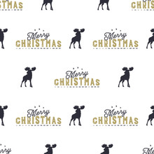 Moose And Merry Christmas Lettering Pattern. Wild Animal Symbols Seamless Background. Moose Icons. Retro Xmas Wallpaper. Vintage Holiday Stock Vector Illustration Isolated On White