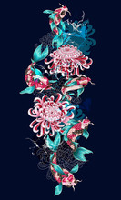 Print With Koi Fish And Flower...