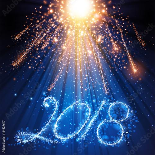 Foto op Canvas Licht, schaduw Happy New Year card, stage, light, spotlight, empty scene illustration easy all editable