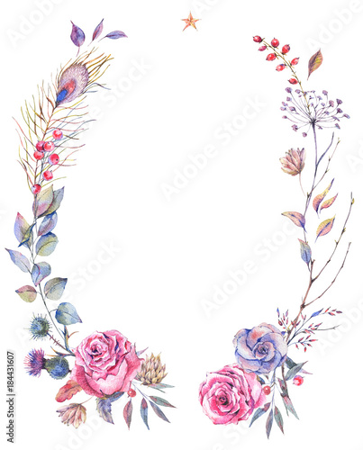 Leinwandbilder - Floral greeting wreath with roses