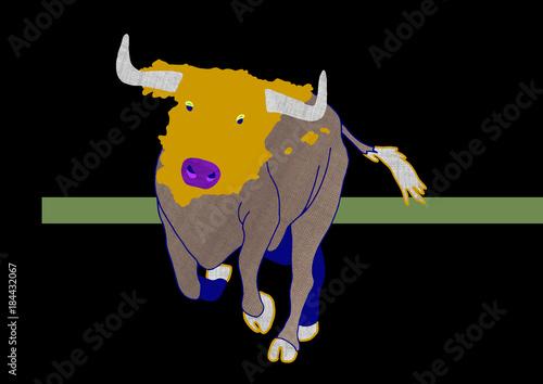 Spanish Bull - animal with map - Buy this stock illustration