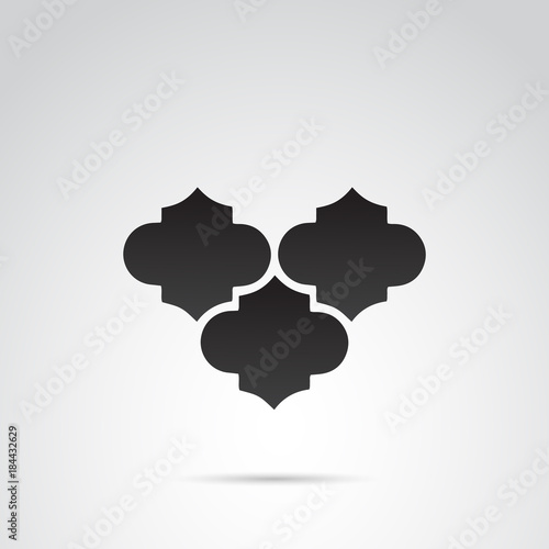 Moroccan pattern shamrock element icon. Vector art.