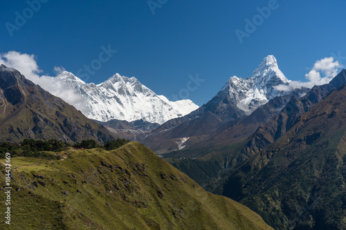 Everest, Lhotse, and Ama Dablam mountain peak view from Namche Bazaar, Everest плакат