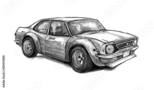 Naklejka premium Ładny stary samochód szkolny. Pięknie rysowane ręcznie grafiką z pojazdem wyścigowym. Szkic ołówkiem.