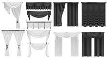 Black And White Velvet Silk Curtains And Draperies Set. Interior Realistic Luxury Curtains Decoration Design.
