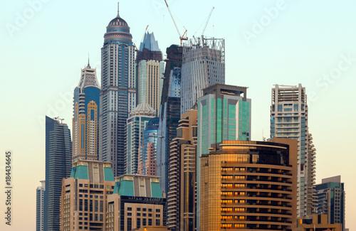 Photo  Modern buildings in Dubai, skyscrapers architecture desert locations UAE
