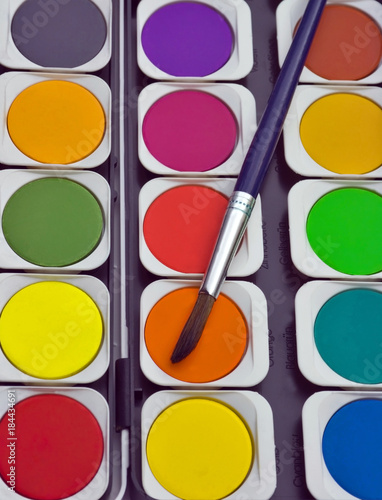 watercolor paint brushes Top view Poster