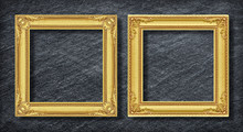 Gold Duo Frame On Dark Grey Black Slate Background Or Texture.