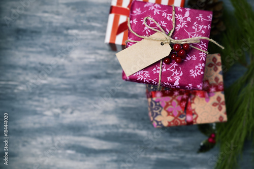 cozy christmas gifts wrapped in nice papers Poster