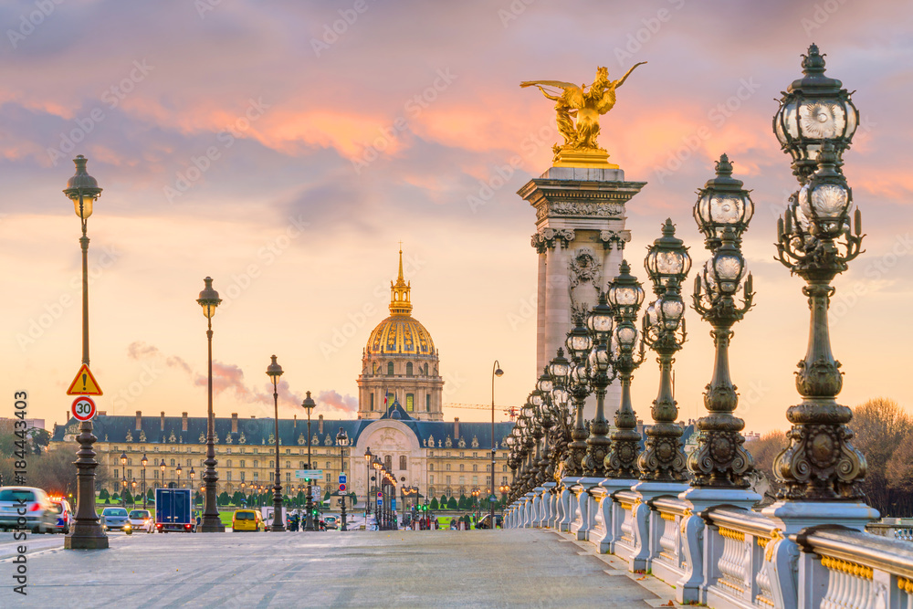 Fototapety, obrazy: The Alexander III Bridge across Seine river in Paris
