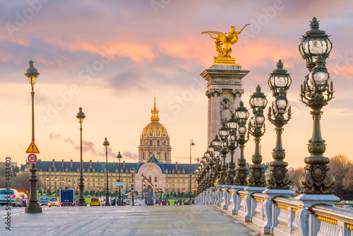 Spoed Foto op Canvas Parijs The Alexander III Bridge across Seine river in Paris