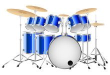 Realistic Blue Drum Set On A W...