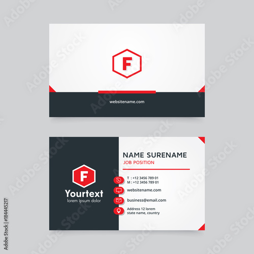 Vector modern creative and clean business card template minimal vector modern creative and clean business card template minimal flat design with red and white reheart Images