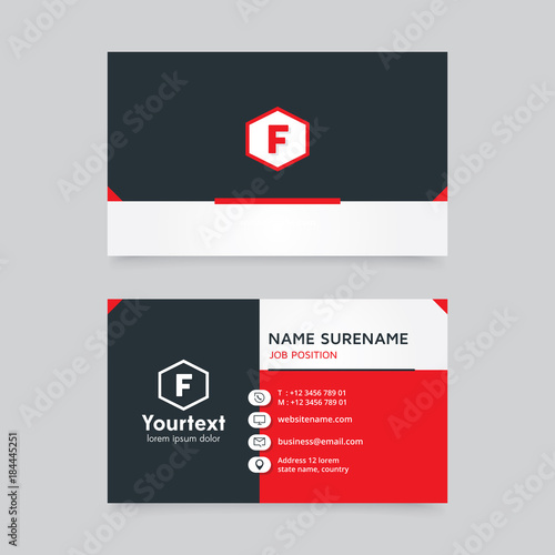 Vector modern creative and clean business card template flat design vector modern creative and clean business card template flat design with red and black color reheart Choice Image