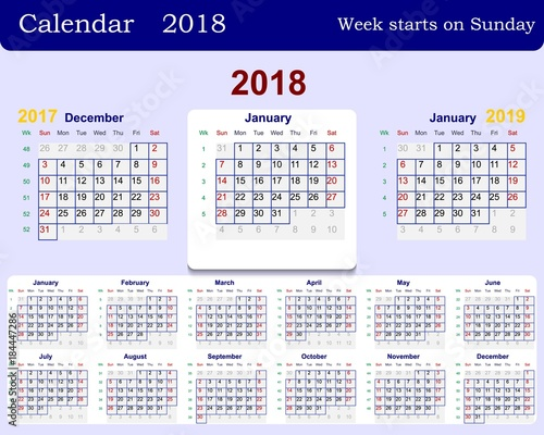 calendar grid for 2018 week starts from sunday and from december of the previous year 2017
