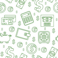Money Seamless Pattern, Line S...
