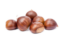 Chestnuts Isolated On White B...