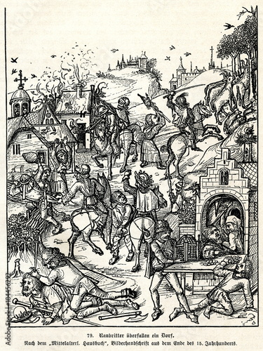 Fotografía  Robber barons attacking the village in the 15th century (from Spamers Illustrier