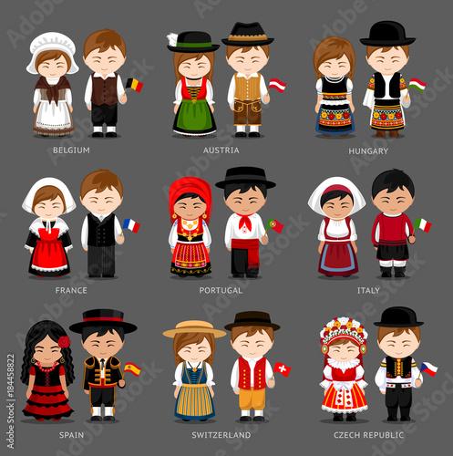 People in national dress. Belgium, Austria, Hungary ...