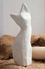 Handmade Cute Papier Mache Cat. Papier Mache Cat Colored With White Acrylic Paint