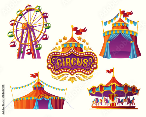 Fototapeta Set of vector illustrations of carnival circus icons with tent, carousels, flags isolated on white background
