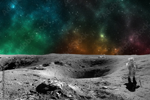 Deurstickers Nasa Astronaut on moon surface. Elements of this image furnished by NASA