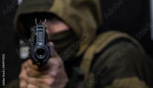 A soldier with a gun Canvas Print