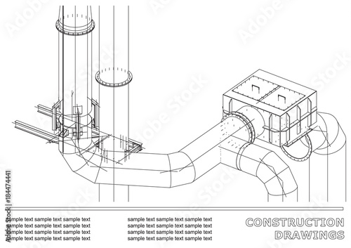 Construction drawings  3D metal construction  Pipes, piping