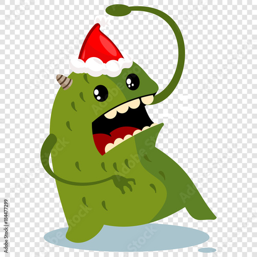 Christmas Hat Cartoon Transparent.Cartoon Christmas Monster In Santa Hat Vector Character
