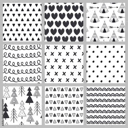 set-bezszwowy-deseniowy-czarny-i-bialy-w-skandynawa-stylu-wektorowa-ilustracja-eps